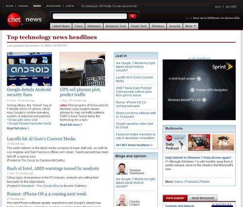 طراحی سایت خبری  طراحی سایت خبری cnet
